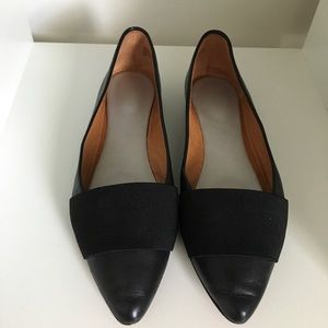 Halogen Black Leather Pointed Toe Flats